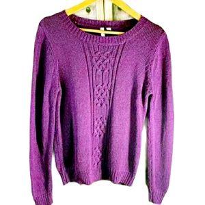 Relativity Glittery Purple Crew Neck Sweater L
